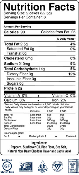 f4b054a6 Ingredients: Popcorn, Sunflower Oil, Rice Flour, Sea Salt, Natural  Non-Dairy Cheddar Flavor and Lactic Acid.